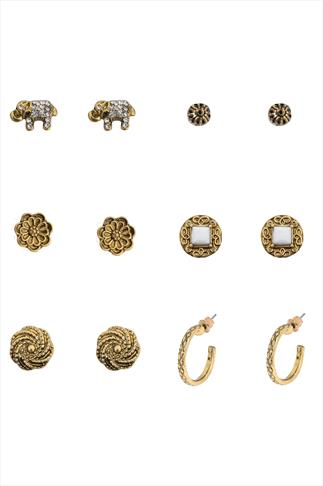 Gold Assorted Stud & Hoop Earring - 6 Pair Pack