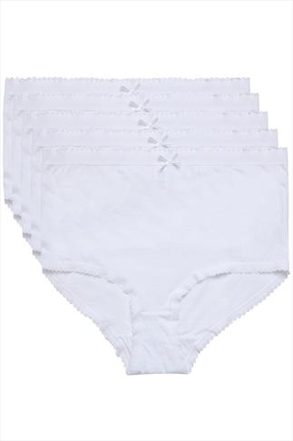 Slips 5 PACK White Cotton Full Briefs 014318
