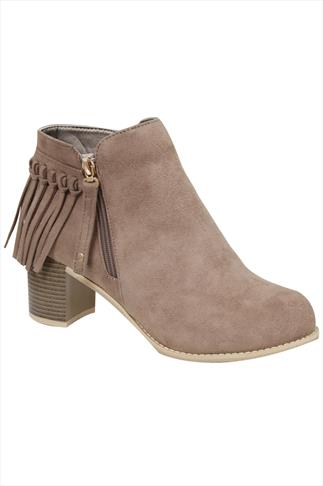 Taupe COMFORT INSOLE Suedette Heeled Ankle Boots With Tassel Detail In E Fit