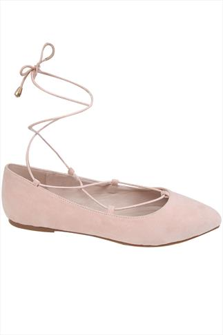 Nude Lace Up Ballerina Pump In E Fit