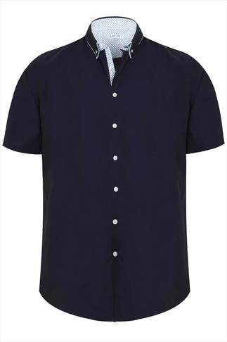 Slate Grey Navy Formal Short Sleeved Shirt With Patterned Collar Trim - TALL