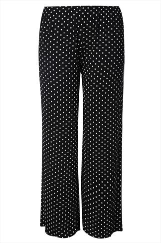 Black & White Polka Dot Print Jersey Palazzo Trousers
