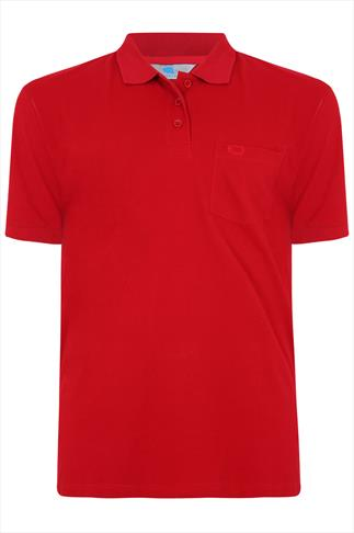 BadRhino Red Plain Polo Shirt - TALL