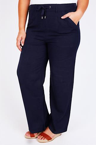 Navy Linen Mix Full Length Trousers With Four Pockets 30""