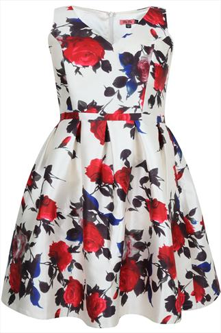CHI CHI LONDON Ivory & Red Rose Sateen Prom Dress