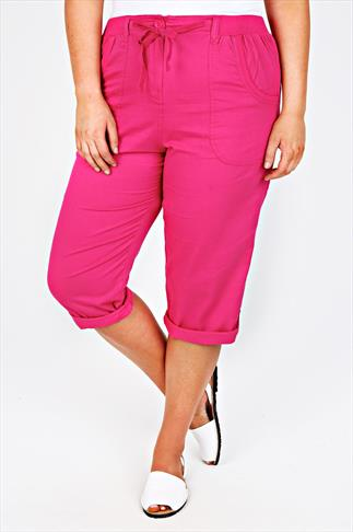 Pink Cotton Twill Roll Up Cropped Trousers