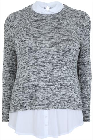 Grey Marl 2 in 1 Knitted Jumper With White Shirt