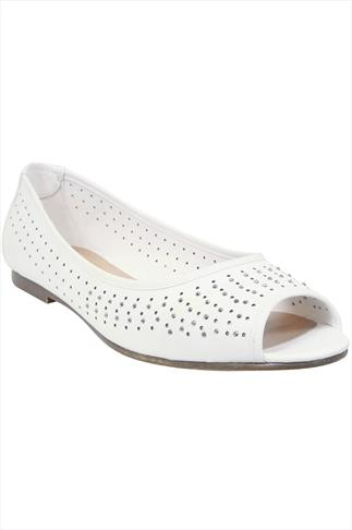 White Peep Toe Ballerina Pumps With Diamante And Cut Out Detail In EEE Fit