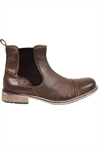 Brown Casual LEATHER Chelsea Boots