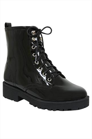 Black Patent Lace Up Boots In EEE Fit