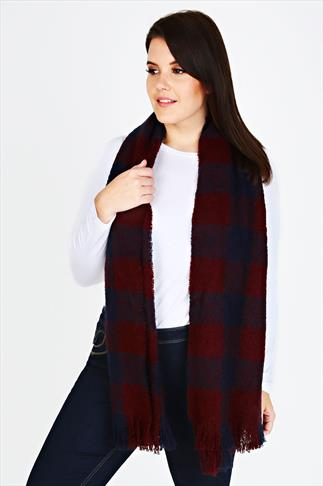 Scarves Wine Red And Navy Checked Blanket Scarf 053924