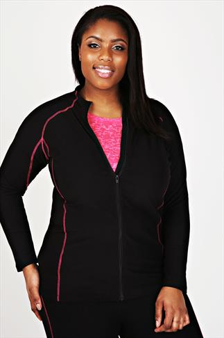 ACTIVE Black Sports Zip Thru Jacket With Pink Stitching