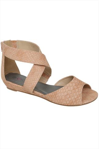 Peach Snake Print Gladiator Low Wedge Sandals In EEE Fit