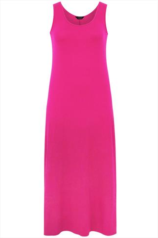 Cerise Pink Plain Sleeveless Maxi Dress