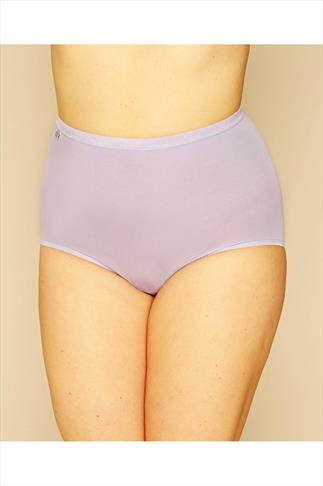 Briefs Knickers SLOGGI 3 PACK Pastel Blue, Purple And Yellow Basic Maxi Briefs 014249
