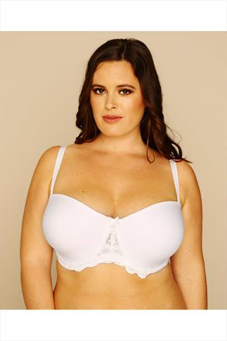 White Multiway Microfibre Lace Bra With Additional Clear Straps