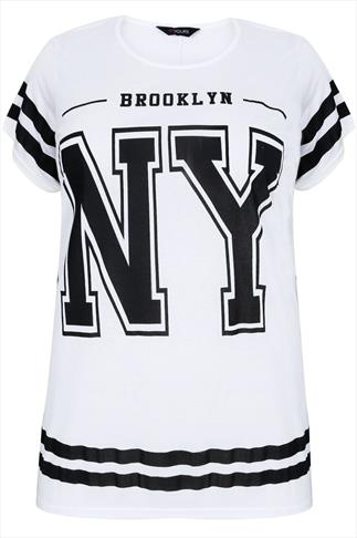 White & Black NY Varsity Print Short Sleeve T-Shirt