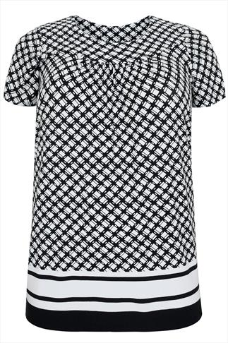 Black & White Diamond Print Short Sleeved Smock Top