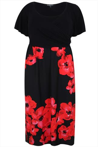 SCARLETT & JO Black & Red Poppy Print Wrap Front Maxi Dress