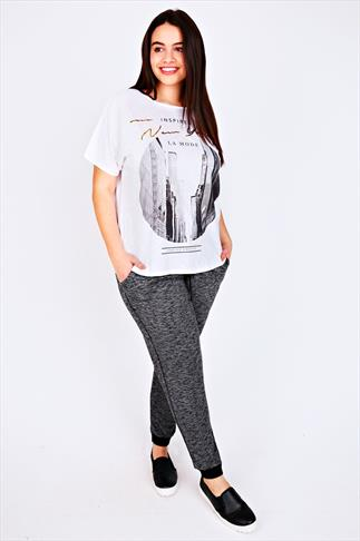Grey Marl Joggers With Elasticated Waist & Cuff 100668