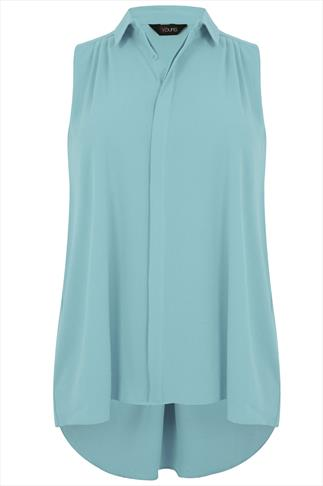 Duck Egg Blue Sleeveless Crepe Button-Up Shirt With Pleating Detail