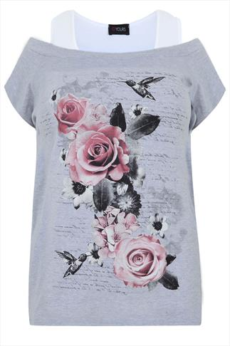 Grey & White Rose Print 2 In 1 Cotton Top