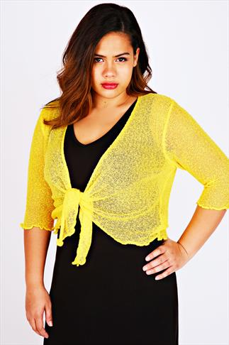 Yellow Slub Knit Shrug With Tie