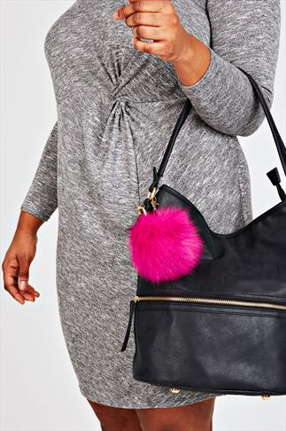 Hot Pink Large Fluffy Pom Pom Keyring