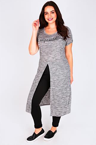 "Grey Marl Maxi T-Shirt With Split Front & ""Impossible"" Slogan"