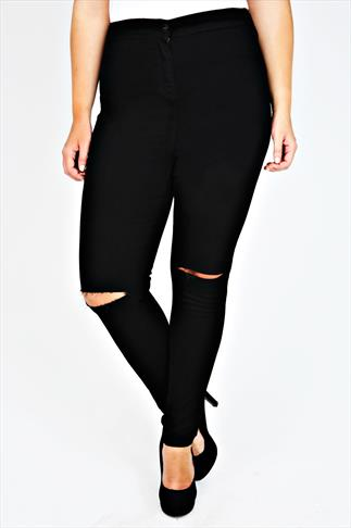 Black Stretch High Waisted Jeans With Ripped Knees