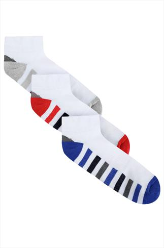 BadRhino White 3 Pack Stripe Sports Liner Socks