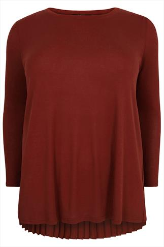 Burgundy Knitted Jumper With Chiffon Pleated Back Panel