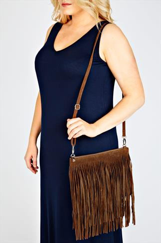 Tan Suedette Tassel Bag With Detachable Straps