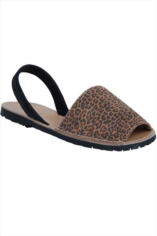 Real Leather Tan Leopard Print Peep Toe Sandals In E Fit