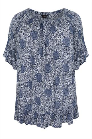 Blue & White Tile Print Frill Gypsy Crinkle Top With Elasticated Neckline