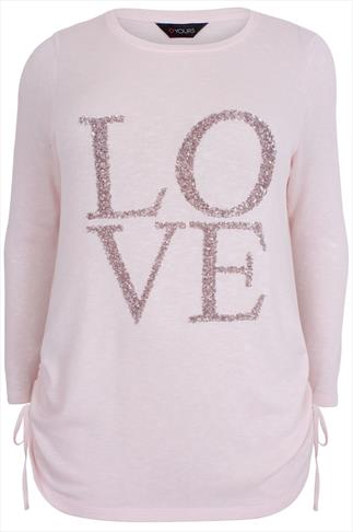 Pastel Pink Sequin 'Love' Top With Long Sleeves