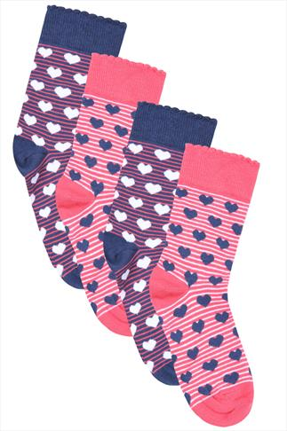 2 PACK Blue & Coral Heart Printed Socks In Extra Wide Fit