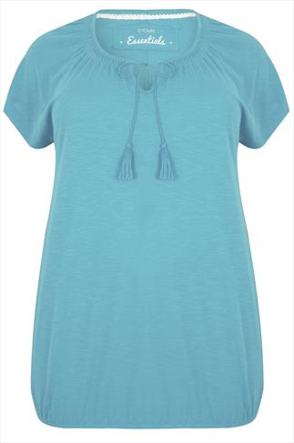 Duck Egg Blue Short Sleeve Cotton Gypsy Top With Tassel Tie