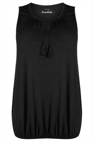Black Sleeveless Vest Top With Tassel Tie Front