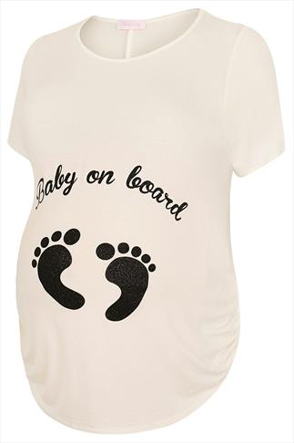 "BUMP IT UP MATERNITY Cream Top With Black Glitter ""Baby On Board"" Print"