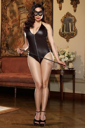 Lingerie Sets DREAMGIRL Black Shiny Feline Cat Outfit 057551