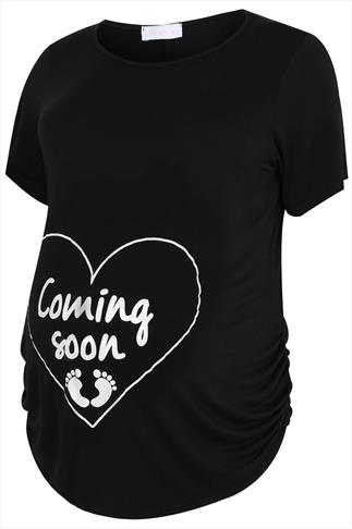 "BUMP IT UP MATERNITY Black  Top With White Glitter ""Coming Soon"" Print"
