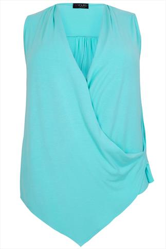 Pastel Blue Wrap Front Jersey Sleeveless Top