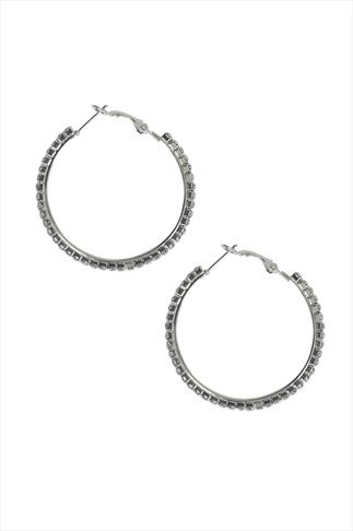 Silver Diamanté Hoop Earrings