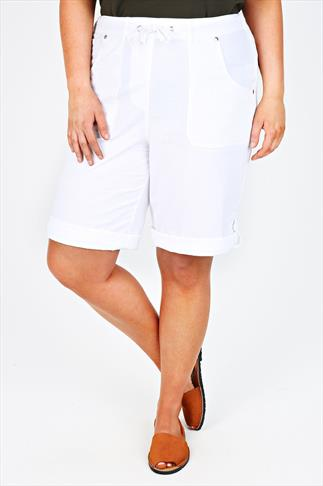 White Cool Cotton Roll Up Shorts With Tab & Button Detail