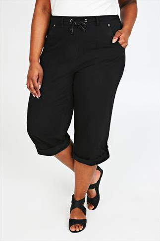 Black Cool Cotton Roll-Up Crop Trousers With Stud Detail
