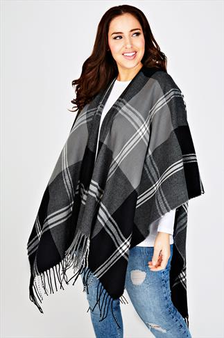 Black And Grey Large Check Woven Wrap