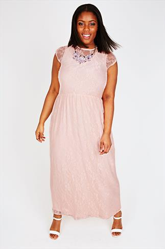 Nude Pink Maxi Dress With Lace Overlay