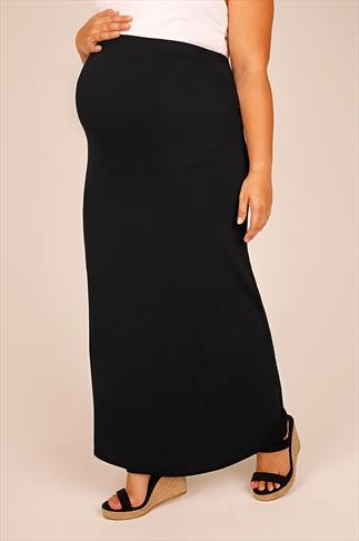 BUMP IT UP MATERNITY Black Tube Maxi Skirt With Comfort Panel 056349