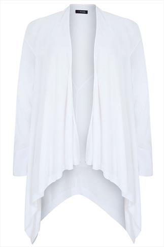 White Fine Knit Waterfall Cardigan With V-Stitch Back Detail